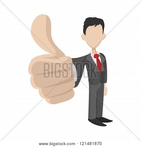 Businessman holding his thumbs up icon
