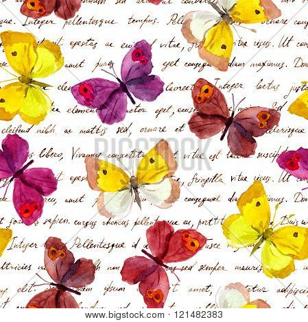 Butterflies at vintage aged hand written text letter. Repeating retro pattern. Watercolor and ink.