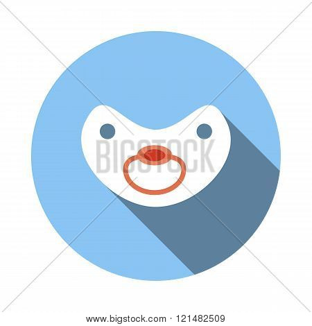Baby pacifier icon, flat style