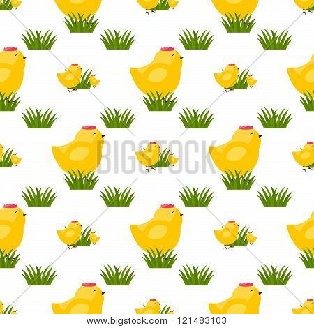 Seamless vector pattern with chicken. Easter egg chicken seamless pattern.Seamless pattern with chicken. Spring background with happy easter chicken symbols.