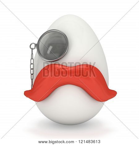 Egg With Red Mustache And Monocle