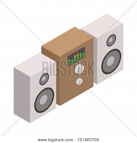 Sound system icon, isometric 3d style