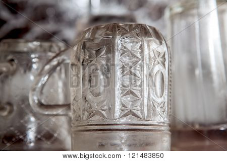 Glass cups in kitchen