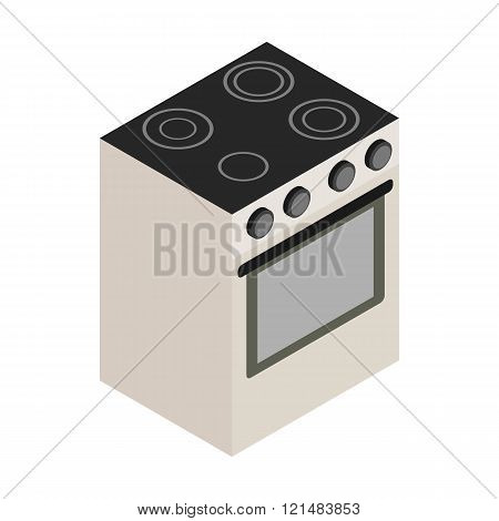 Electric stove icon, isometric 3d style