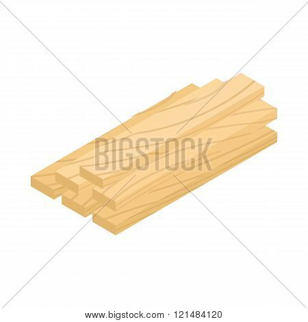 Wood planks icon, isometric 3d style