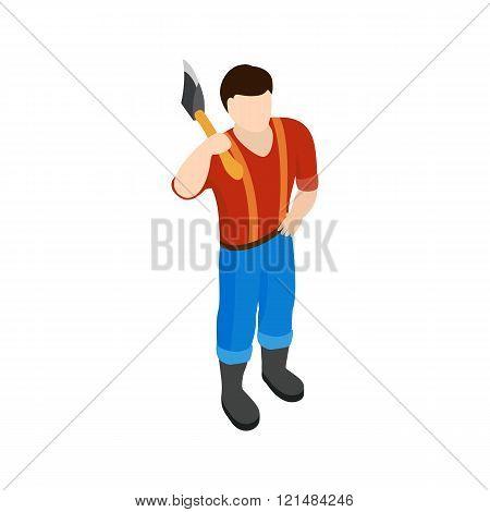Lumberjack icon, isometric 3d style