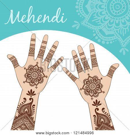Women's Hands, Palms Up. Mehendi.
