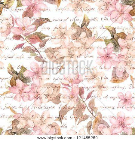Flowers - cherry blossom, sakura - and hand written text letter in retro color. Vintage watercolor.