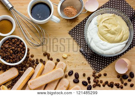 Tiramisu Cake Ingredients Background
