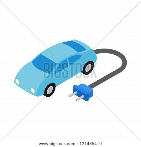 Electric car icon, isometric 3d style