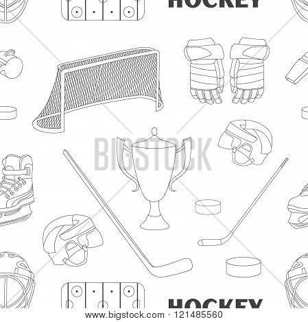 Hand drawn hockey icons pattern