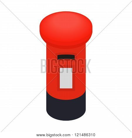 London red mail box icon, isometric 3d style
