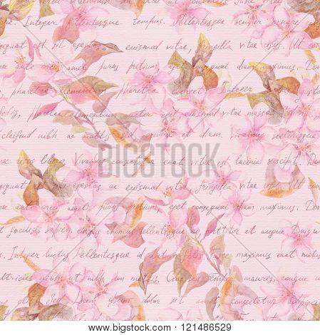 Blossom flowers - sakura, cherry, apple - and handwritten text letter. Watercolor. Seamless pattern
