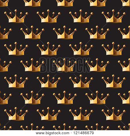 Pattern Gold Crown On A Dark Background Eps 10 Vector Illustration