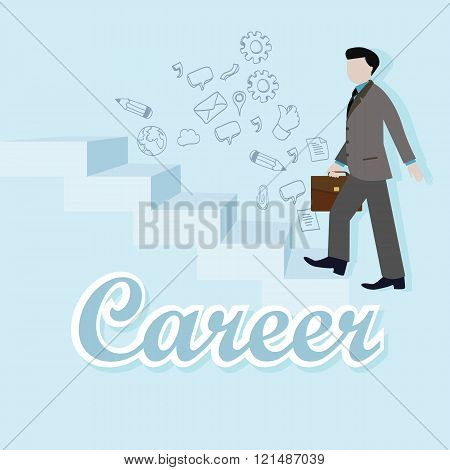 business man step up career climbing stairs staircase vector flat illustration goal rise employee am