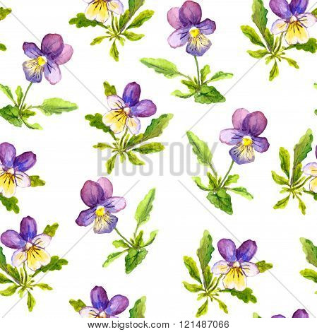 Seamless romantic textile texture with violet viola flowers