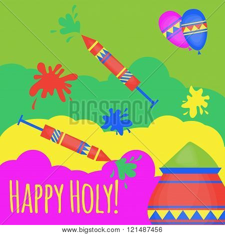 Indian Holi Traditional Festival Of Colours, Design Elements In Indian Style, Hinduism Colorful Cele