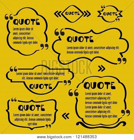 Quote frames.Vintage template with print information design quotes. Vector Typography Speech Bubble