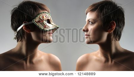 two specular portrait of a woman