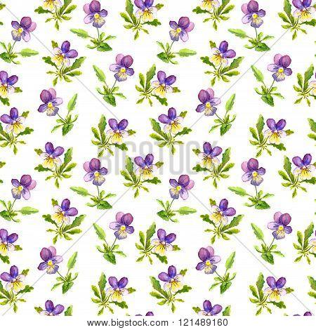 Seamless vintage pattern with retro botanical violet viola flowers