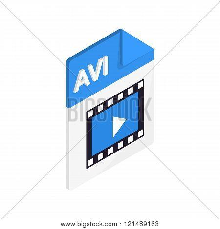 AVI icon, isometric 3d style