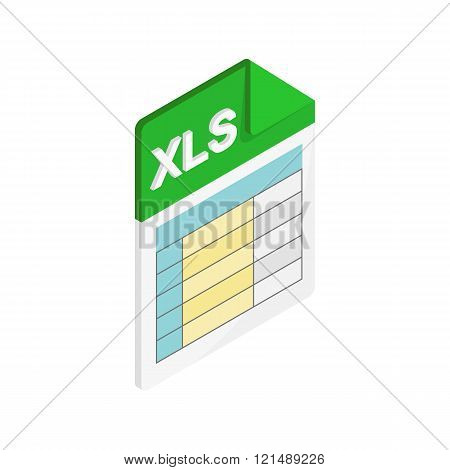 XLS icon, isometric 3d style