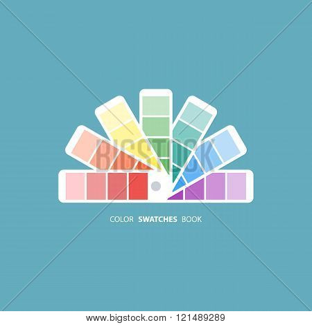 Color swatches book. Color palette guide. Color swatch icon. Color swatches flat sign.