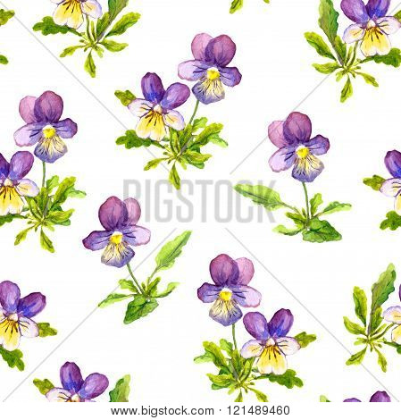 Watercolor painted seamless wallpaper with violet pansy viola flowers