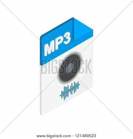 MP3 audio file extension icon, isometric 3d style