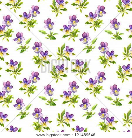 Seamless fabric design with exquisite violet viola flowers