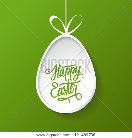 Easter egg with handwritten inscription Happy Easter. Happy Easter greeting card.