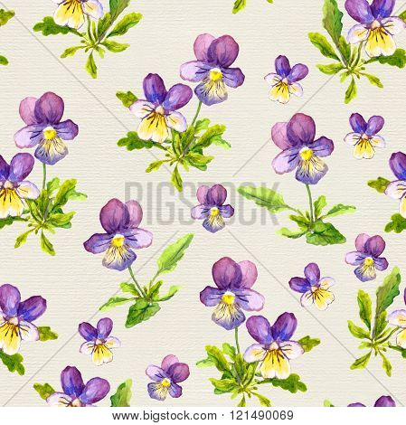 Hand painted seamless pattern with violet flowers on paper background