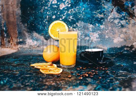 Orange Juice And Strong Espresso Served As Breakfast In Pub, Restaurant