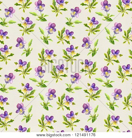 Botanical seamless backdrop with pretty violet flowers on paper texture