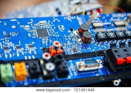 Electronic Circuit Board Close-up With Microelements Different Shapes