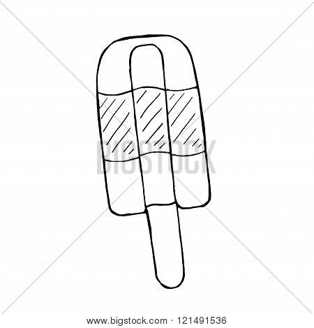 Vector doodle line drawing cartoon ice lolly. hand drawn