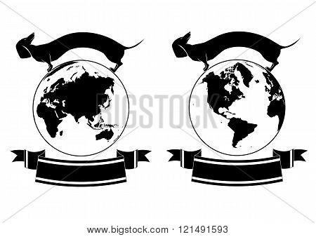 Set Of Globe And Dog