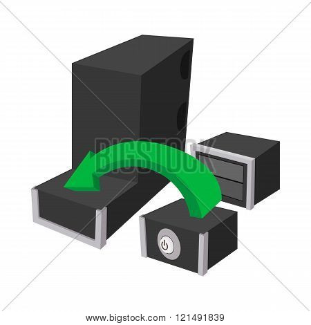 Assembling of a new PC icon, cartoon style