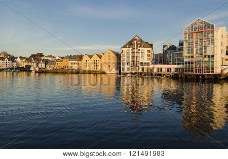 ALESUND, NORWAY, JULY 19, 2014: Urban landscape, typical Scandinavian architecture in Alesund, Norway