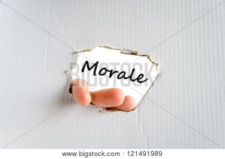 Morale text concept isolated over white background