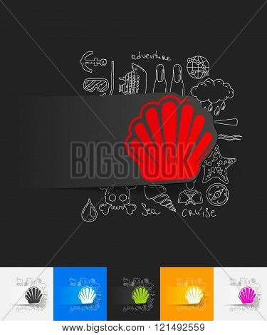shell paper sticker with hand drawn elements