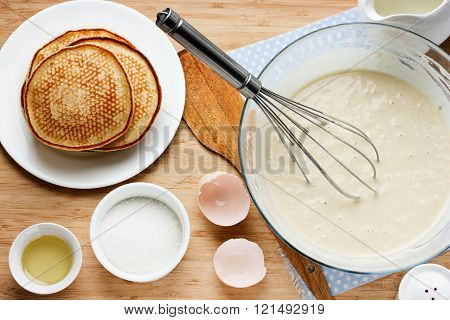 Cooking Pancakes For Breakfast. Ingredients For Making Pancakes, Dough And Fried Pancakes