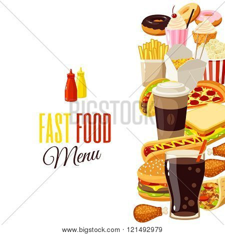 Background With Cartoon Food: Hamburger, French Fries, Coffee, Sandwich, Popcorn, Ice Cream, Pizza,