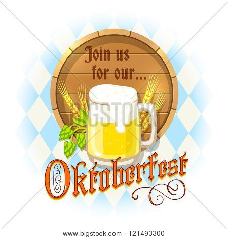 Oktoberfest Design With Mug Of Beer, Wooden Barrel, Barley Spikes And Hops On Blue And White Diamond