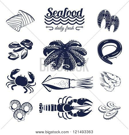 Set Of Monotone Cartoon Sea Food Elements - Tuna, Salmon, Clams, Crab, Lobster And So Forth. Vector
