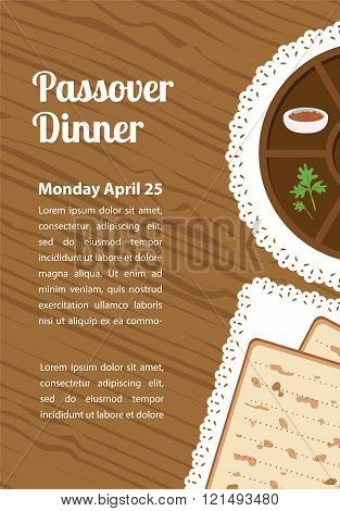 Passover  dinner, seder pesach. table with passover plate and traditional food