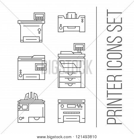 Isolated vector printer icons set. Document print equipment. Color printer on white background. Photocopier tool collection. Business copy, scan and laser print. Media industry graphic symbols.