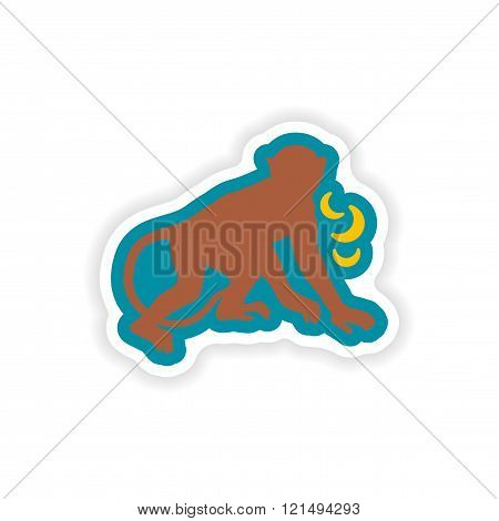 paper sticker on white background monkey with bananas