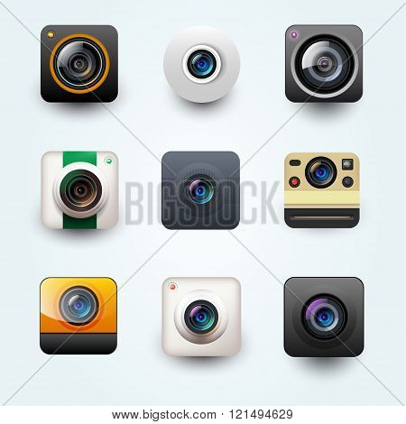 Set Of Photo Camera Icon. Vector User Interface Camera Icon
