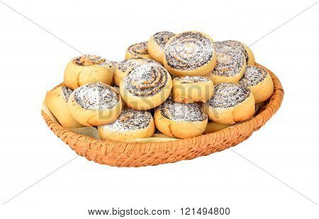 Homemade Cookie Roll With Poppy In A Wattled Basket